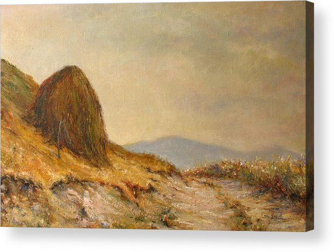 Armenia Acrylic Print featuring the painting Landscape With A Hayrick by Tigran Ghulyan
