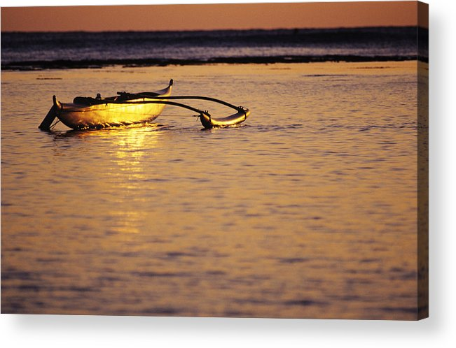 Aku Acrylic Print featuring the photograph Outrigger And Sunset by Joss - Printscapes