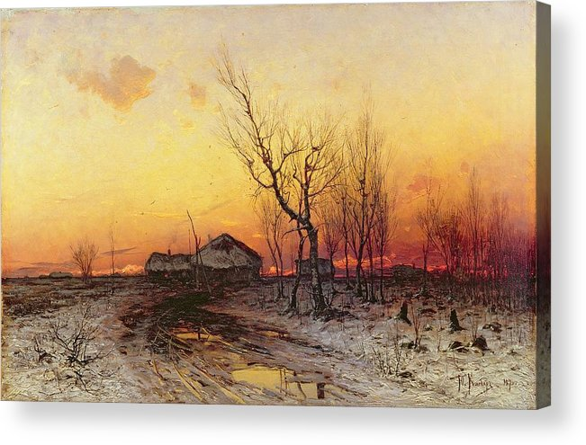Winter Acrylic Print featuring the painting Winter Landscape by Julius Sergius Klever