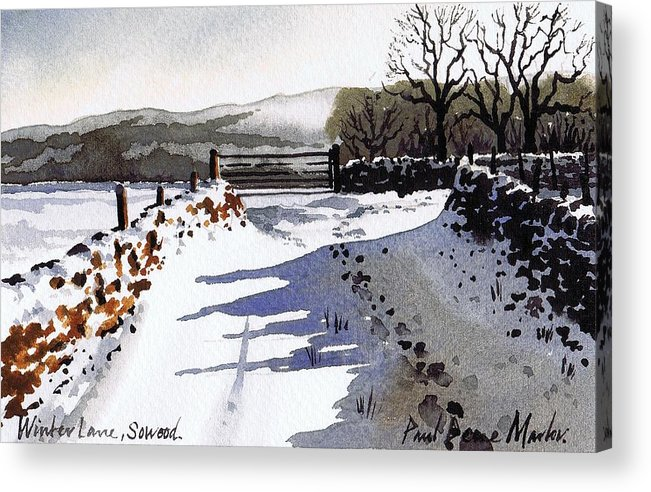 Snow Scene Acrylic Print featuring the painting Winter Lane Sowood by Paul Dene Marlor