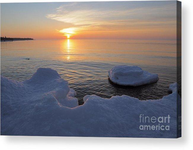 Lake Superior Sunrise On Ice Acrylic Print featuring the photograph An Icy Superior Sunrise by Sandra Updyke