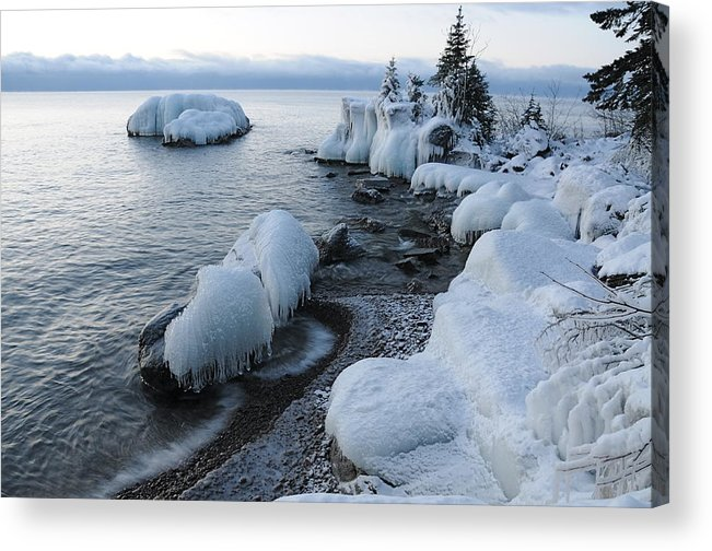 Ice Lake Superior Blues Ice Storm Acrylic Print featuring the photograph Lake Superior Blues by Sandra Updyke
