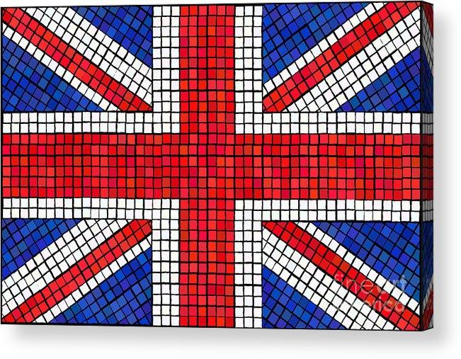 Background Acrylic Print featuring the digital art Union Jack Mosaic by Jane Rix