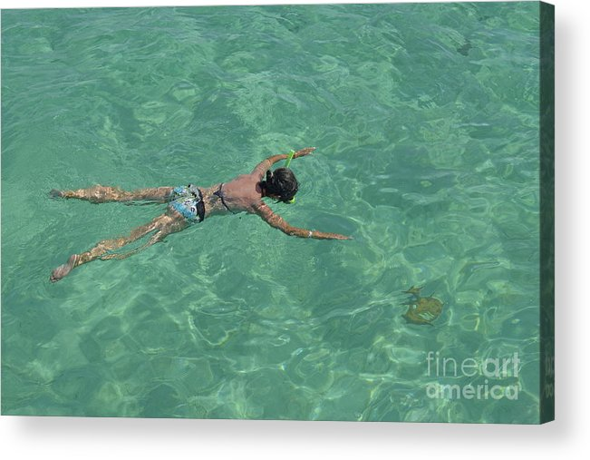 People Acrylic Print featuring the photograph Woman Snorkeling By Turquoise Sea by Sami Sarkis