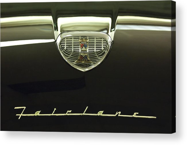 1958 Ford Fairlane 500 Victoria Tudor Hardtop Acrylic Print featuring the photograph 1958 Ford Fairlane 500 Victoria Hood Ornament by Jill Reger