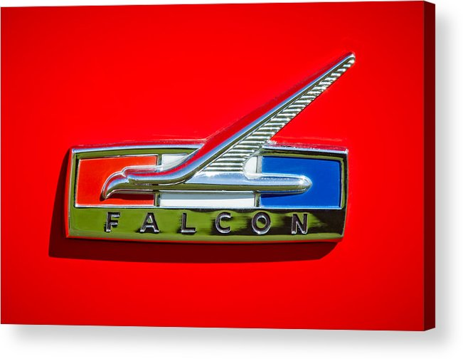 1964 Ford Falcon Emblem Acrylic Print featuring the photograph 1964 Ford Falcon Emblem by Jill Reger