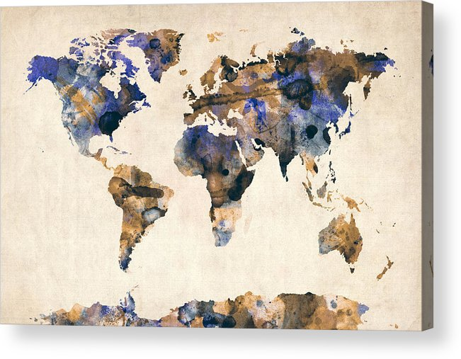 Map Of The World Acrylic Print featuring the digital art World Map Watercolor by Michael Tompsett
