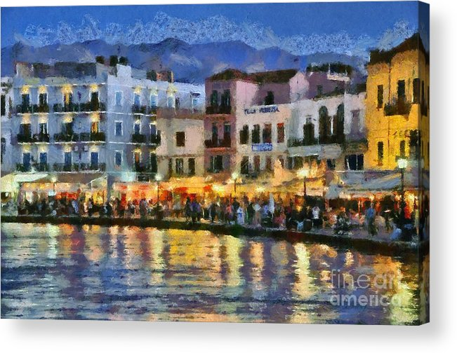 Chania; Hania; Crete; Kriti; Town; Old; City; Port; Harbor; Venetian; Greece; Hellas; Greek; Hellenic; Islands; Dusk; Twilight; Night; Lights; Sea; Island; People; Tourists; Walk; Walking; Color; Colour; Colorful; Colourful; Hotels; Taverns; Restaurants; Holidays; Vacation; Travel; Trip; Voyage; Journey; Tourism; Touristic; Summer; Paint; Painting; Paintings Acrylic Print featuring the painting Painting Of The Old Port Of Chania by George Atsametakis