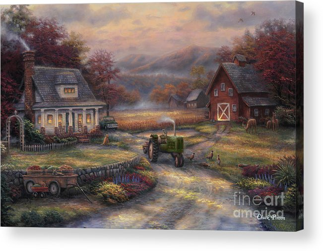 Tractor Acrylic Print featuring the painting Afternoon Harvest by Chuck Pinson