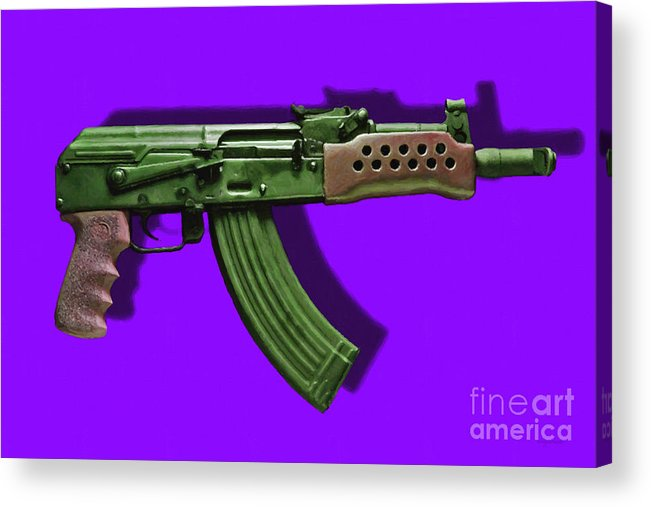 Gun Acrylic Print featuring the photograph Assault Rifle Pop Art - 20130120 - V4 by Wingsdomain Art and Photography