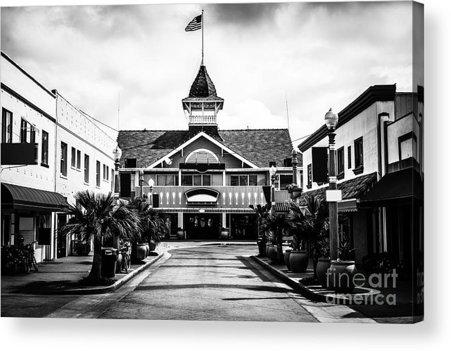 America Acrylic Print featuring the photograph Balboa California Main Street Black And White Picture by Paul Velgos