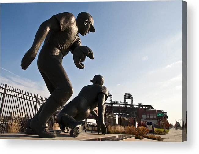 Baseball Statue At Citizens Bank Park Acrylic Print featuring the photograph Baseball Statue At Citizens Bank Park by Bill Cannon