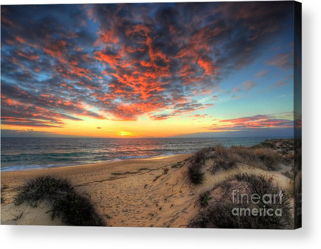Manateevoyager Acrylic Print featuring the photograph Beachcombers Sunset by English Landscapes