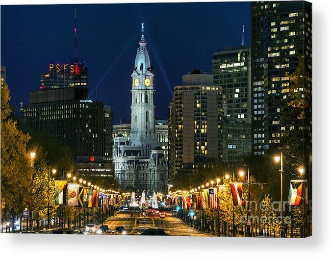 Ben Franklin Parkway Acrylic Print featuring the photograph Ben Franklin Parkway And City Hall by John Greim