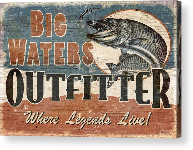 Jon Q Wright Acrylic Print featuring the painting Big Waters Outfitters by JQ Licensing