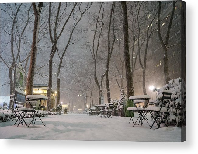 Nyc Acrylic Print featuring the photograph Bryant Park - Winter Snow Wonderland - by Vivienne Gucwa