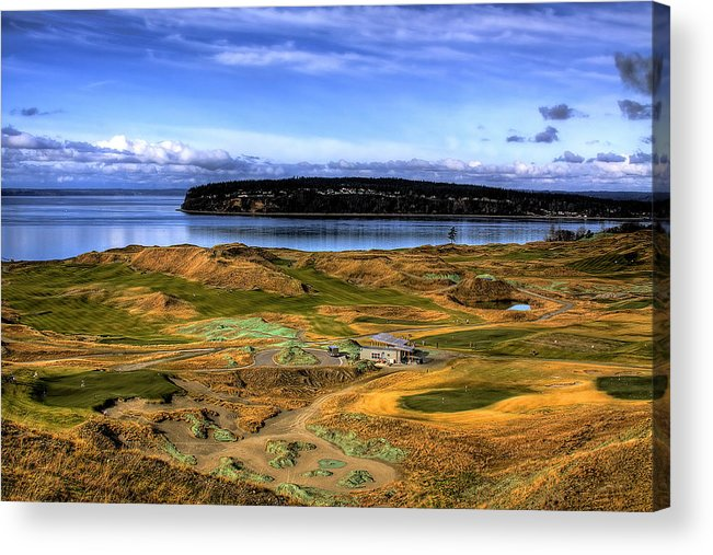 Chambers Bay Golf Course Acrylic Print featuring the photograph Chambers Bay Golf Course by David Patterson