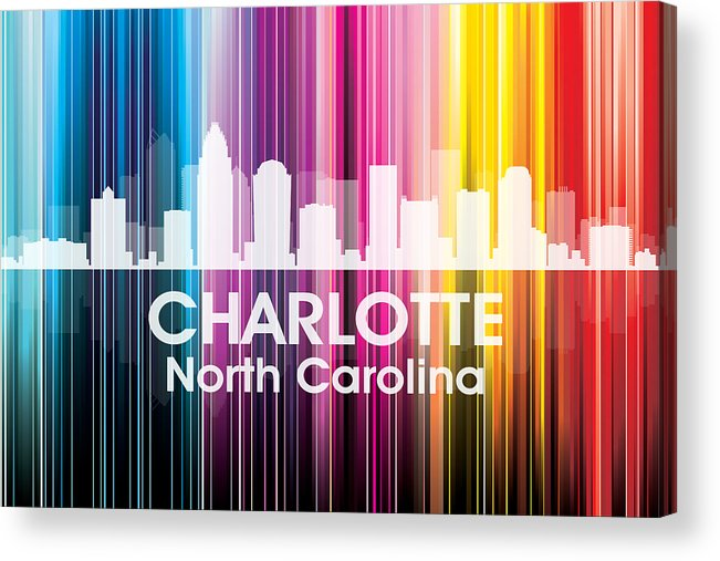 City Silhouette Acrylic Print featuring the mixed media Charlotte Nc 2 by Angelina Vick