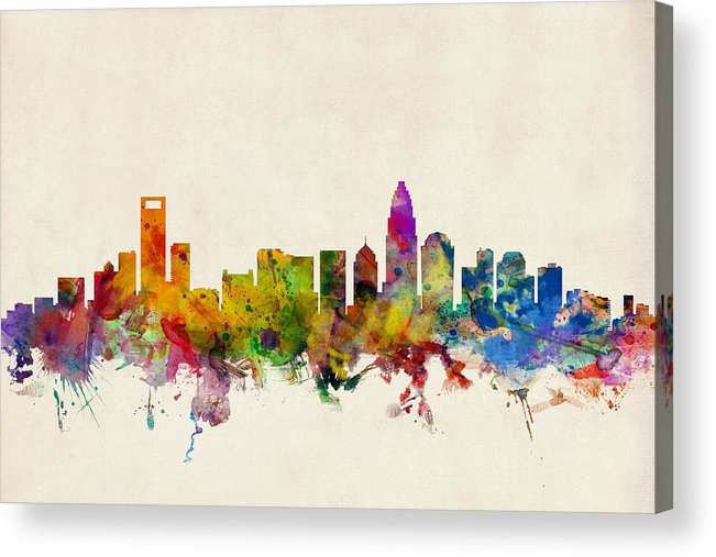 Watercolour Acrylic Print featuring the digital art Charlotte North Carolina Skyline by Michael Tompsett