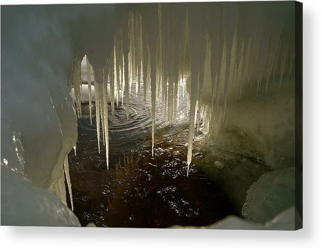 Ice Volcano Acrylic Print featuring the photograph Discovering The Light by Sandra Updyke