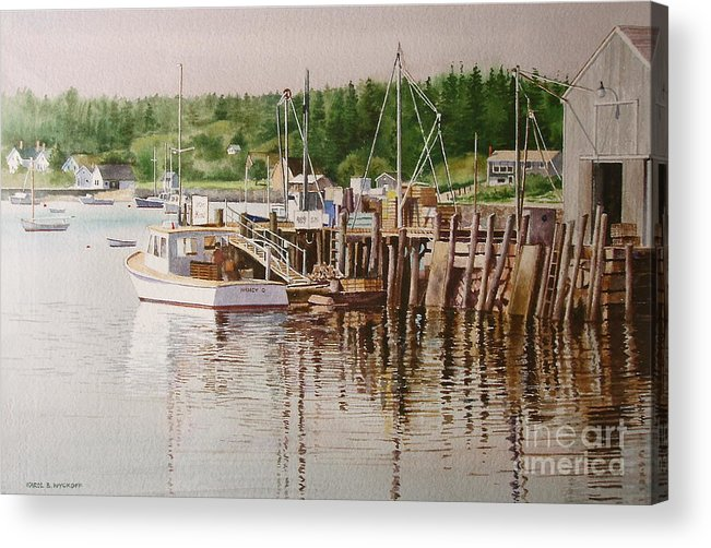 Harbor Acrylic Print featuring the painting Downeast Reflections by Karol Wyckoff