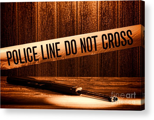 Police Line Acrylic Print featuring the photograph Evidence by Olivier Le Queinec