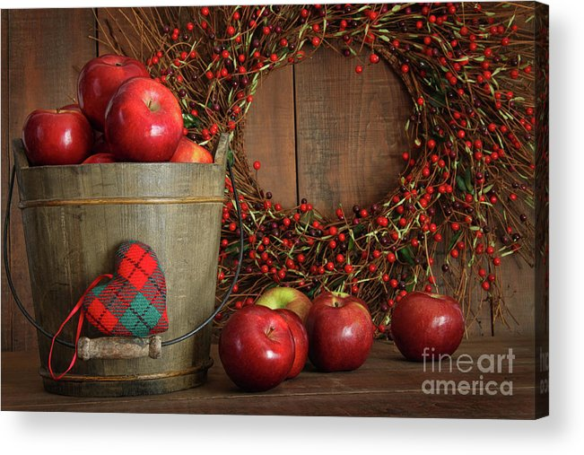 Agriculture Acrylic Print featuring the photograph Farm Fence In Rural Farm Setting by Sandra Cunningham