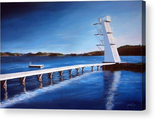 Diving Board Acrylic Print featuring the painting Farsund Badehuset On A Sunny Day by Janet King