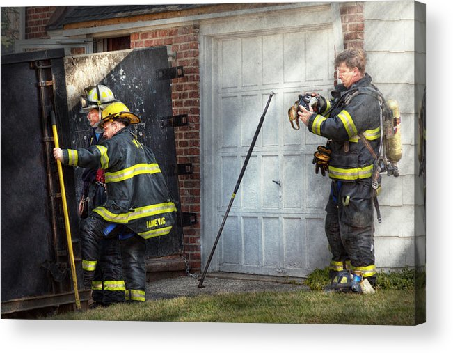 Savad Acrylic Print featuring the photograph Fireman - Take All Fires Seriously by Mike Savad