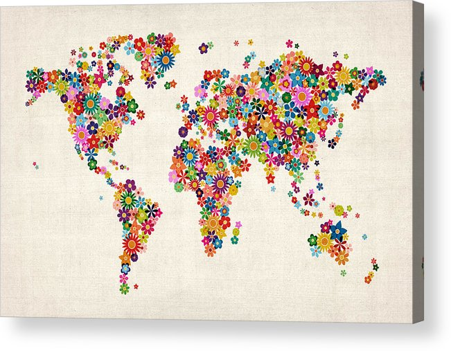 World Map Acrylic Print featuring the digital art Flowers Map Of The World Map by Michael Tompsett