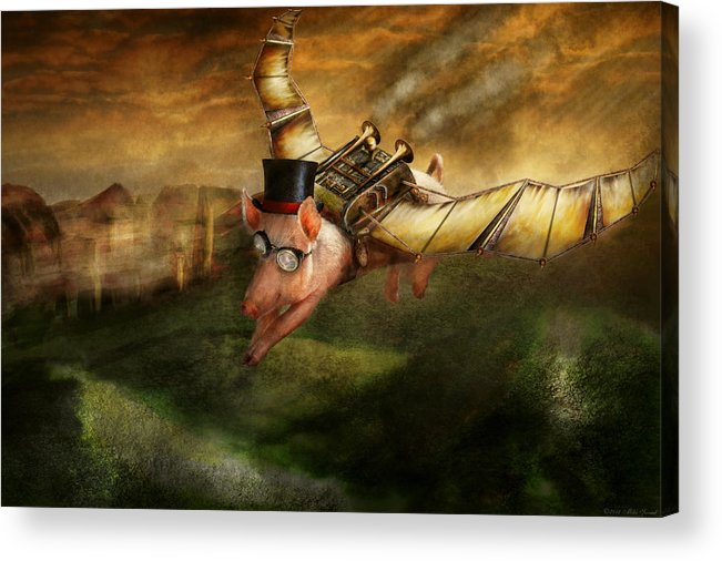 Pig Acrylic Print featuring the photograph Flying Pig - Steampunk - The Flying Swine by Mike Savad