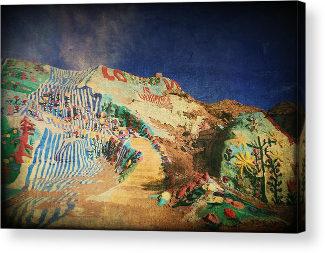 Salvation Mountain Acrylic Print featuring the photograph Follow The Yellow Brick Road by Laurie Search