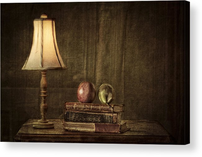 Apple Acrylic Print featuring the photograph Fruit And Books by Erik Brede