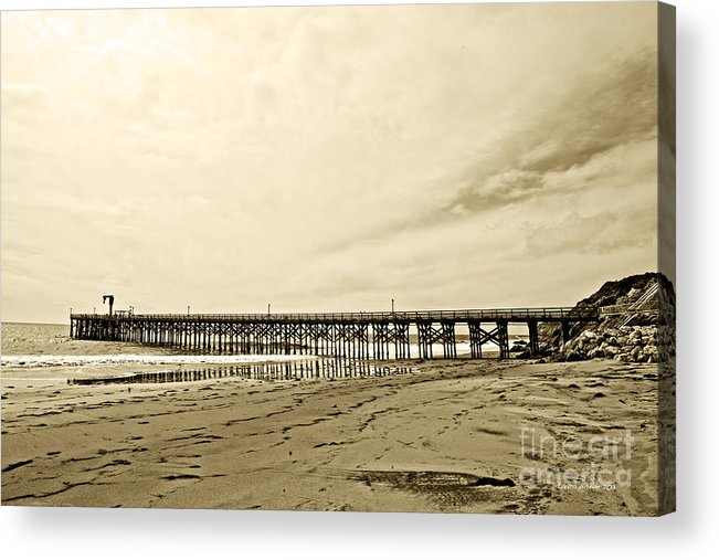 Gaviota Acrylic Print featuring the photograph Gaviota Pier In Morning Sepia Tone by Artist and Photographer Laura Wrede