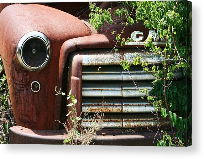 Gmc Acrylic Print featuring the photograph Gmc Grill Work by Kathy Clark