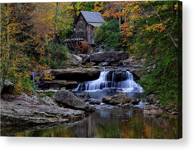 Trees Acrylic Print featuring the photograph Grist Mill Falls by Lone Dakota Photography