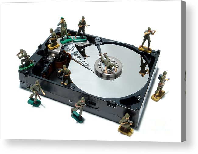 Computer Acrylic Print featuring the photograph Hard Drive Defense by Olivier Le Queinec