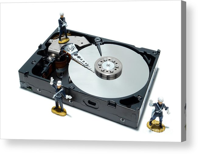 Computer Acrylic Print featuring the photograph Hard Drive Security by Olivier Le Queinec
