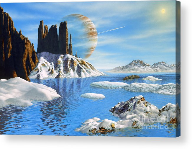 lynette Cook Acrylic Print featuring the painting Hd 222582 B And Moon by Lynette Cook