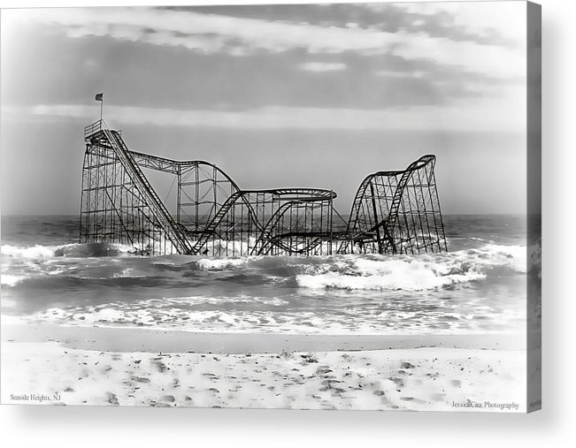 Hurricane Sandy Photographs Acrylic Print featuring the photograph Hurricane Sandy Jetstar Roller Coaster Black And White by Jessica Cirz