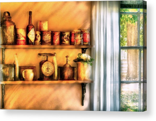 Savad Acrylic Print featuring the digital art Jars - Kitchen Shelves by Mike Savad