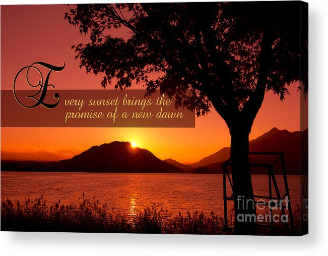Every Sunset Brings The Promise Of A New Dawn Acrylic Print featuring the photograph Lake Sunset With Promise Of A New Dawn by Beverly Claire Kaiya
