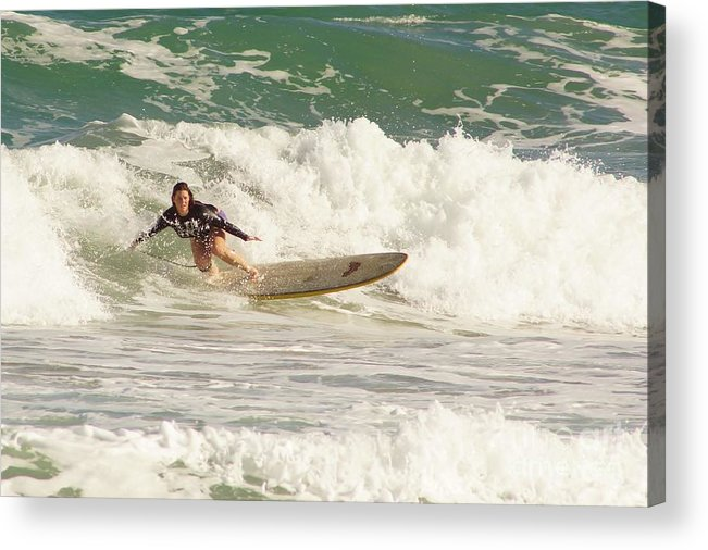 Surf Acrylic Print featuring the photograph Longboard Lady by Lynda Dawson-Youngclaus