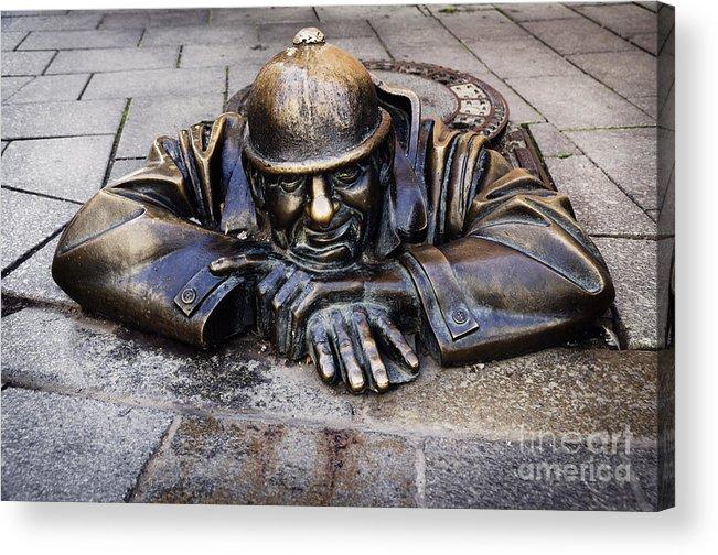 Bratislava Acrylic Print featuring the pyrography Man At Work In Bratislava by Jelena Jovanovic