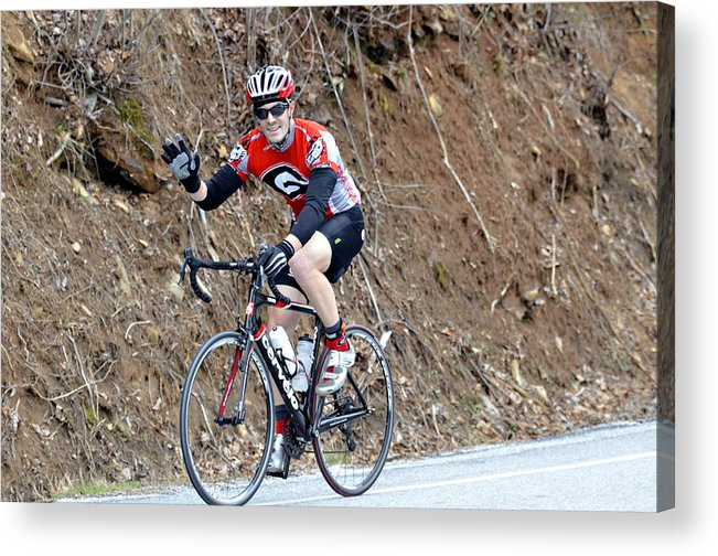 Sport Acrylic Print featuring the photograph Man Riding Bike In A Race by Susan Leggett