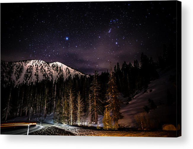 Astrophotography Acrylic Print featuring the photograph Mt. Rose Highway And Ski Resort At Night by Scott McGuire