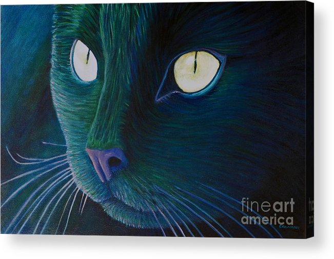 Cat Acrylic Print featuring the painting Night Vision by Brian Commerford