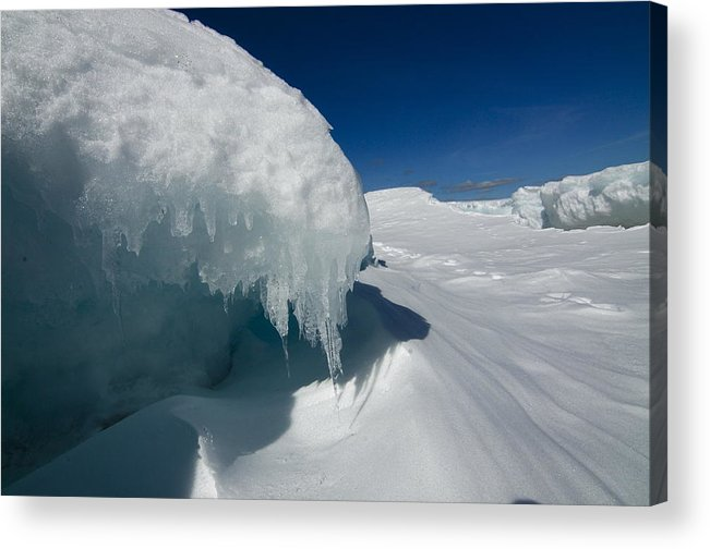 Ice Clear Blue Skies Snow  Lake Superior Shore Acrylic Print featuring the photograph Nothing But Ice by Sandra Updyke
