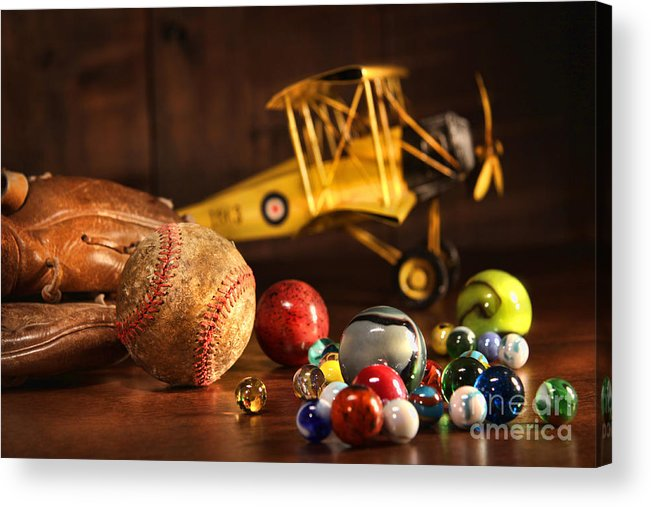 Aged Acrylic Print featuring the photograph Old Baseball And Glove With Antique Toys by Sandra Cunningham