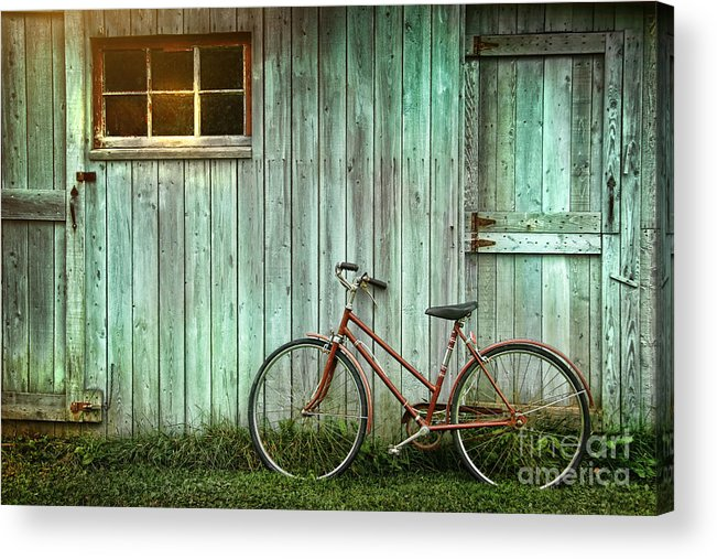 Autumn Acrylic Print featuring the photograph Old Bicycle Leaning Against Grungy Barn by Sandra Cunningham